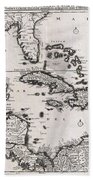 1696 Danckerts Map Of Florida The West Indies And The Caribbean Beach Towel
