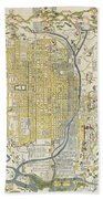 1696 Genroku 9 Early Edo Japanese Map Of Kyoto Japan Beach Towel