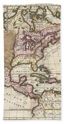 1698 Louis Hennepin Map Of North America Beach Towel by Paul Fearn