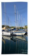 Reflections In Mikrolimano Port Beach Towel