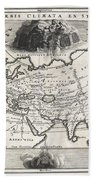 1700 Cellarius Map Of Asia Europe And Africa According To Strabo Beach Towel