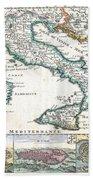 1706 De La Feuille Map Of Italy Beach Towel