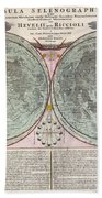 1707 Homann And Doppelmayr Map Of The Moon  Beach Towel