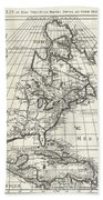 1708 De Lisle Map Of North America Beach Towel