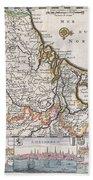 1710 De La Feuille Map Of The Netherlands Belgium And Luxembourg  Beach Towel