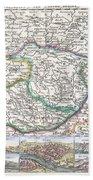 1710 De La Feuille Map Of Transylvania  Moldova Beach Towel