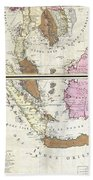 1710 Ottens Map Of Southeast Asia Singapore Thailand Siam Malaysia Sumatra Borneo Beach Towel
