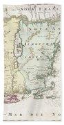 1716 Homann Map Of New England Beach Towel