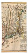 1729 Moll Map Of New York New England And Pennsylvania  Beach Towel