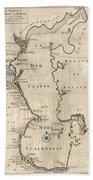 1730 Van Verden Map Of The Caspian Sea Beach Towel