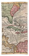 1732 Herman Moll Map Of The West Indies And Caribbean Beach Towel