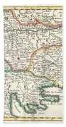 1738 Ratelband Map Of The Balkans Beach Towel