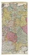 1740 Homann Map Of The Holy Roman Empire Beach Towel