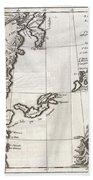 1750 Bellin Map Of The Kuril Islands Beach Towel