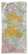 1761 Homann Heirs Map Of Westphalia  Beach Towel