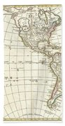 1762 Janvier Map Of North America And South America  Beach Towel