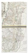 1763 De Lisle Map Of The Holy Land Beach Towel