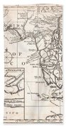 1763 Gibson Map Of East And West Florida Beach Towel by Paul Fearn