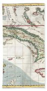 1763 Terreni  Coltellini Map Of Cuba And Jamaica Beach Towel