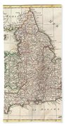 1772 Bonne Map Of England And Wales  Beach Towel