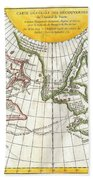 1772 Vaugondy And Diderot Map Of The Pacific Northwest And The Northwest Passage Beach Towel by Paul Fearn