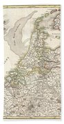 1775 Janvier Map Of Holland And Belgium Beach Towel
