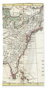 1776 Bonne Map Of Louisiana And The British Colonies In North America Beach Towel