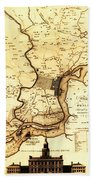 1777 Philadelphia Map Beach Towel