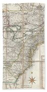 1779 Phelippeaux Case Map Of The United States During The Revolutionary War Beach Towel