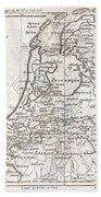 1780 Raynal And Bonne Map Of Holland And Belgium Beach Towel