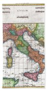 1780 Raynal And Bonne Map Of Italy Beach Towel