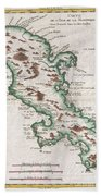1780 Raynal And Bonne Map Of Martinique West Indies Beach Towel