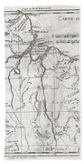 1780 Raynal And Bonne Map Of Northern Brazil Beach Towel