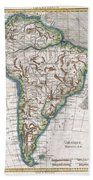 1780 Raynal And Bonne Map Of South America Beach Towel