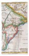 1780 Raynal And Bonne Map Of Southern Brazil Northern Argentina Uruguay And Paraguay Beach Towel