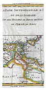1780 Raynal And Bonne Map Of The Barbary Coast Of Northern Africa Beach Towel