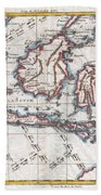 1780 Raynal And Bonne Map Of The East Indies Singapore Java Sumatra Borneo Beach Towel