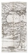 1780 Raynal And Bonne Map Of Turkey In Europe And Asia Beach Towel