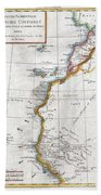 1780 Raynal And Bonne Map Of Western Africa Beach Towel