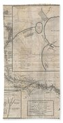 1784 Tiefenthaler Map Of The Ganges And Ghaghara Rivers India Beach Towel