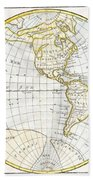 1785 Clouet Map Of North America And South America Beach Towel