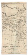 1787 Bonne Map Of The Dispersal Of The Sons Of Noah Beach Towel