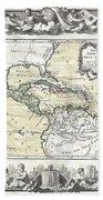 1788 Brion De La Tour Map Of Mexico Central America And The West Indies Beach Towel