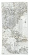 1788 Schraembl  Pownall Map Of North America And The West Indies Beach Towel