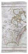 1789 Brion De La Tour Map Of North America Beach Towel