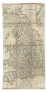 1790 Faden Map Of The Roads Of Great Britain Or England Beach Towel
