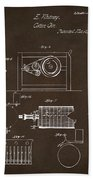 1794 Eli Whitney Cotton Gin Patent 2 Espresso Beach Towel
