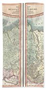 1799 Cary Map Of The Russian Empire Beach Towel