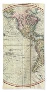 1799 Cary Map Of The Western Hemisphere  Beach Towel