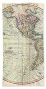 1799 Cary Map Of The Western Hemisphere  Beach Towel